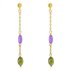 14K gold studs - purple and olive green zircon, fine chain