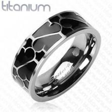 Titanium ring - black glaze with ornament