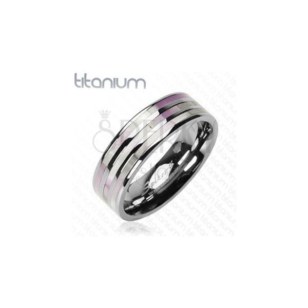 Titanium ring - pearl stripes