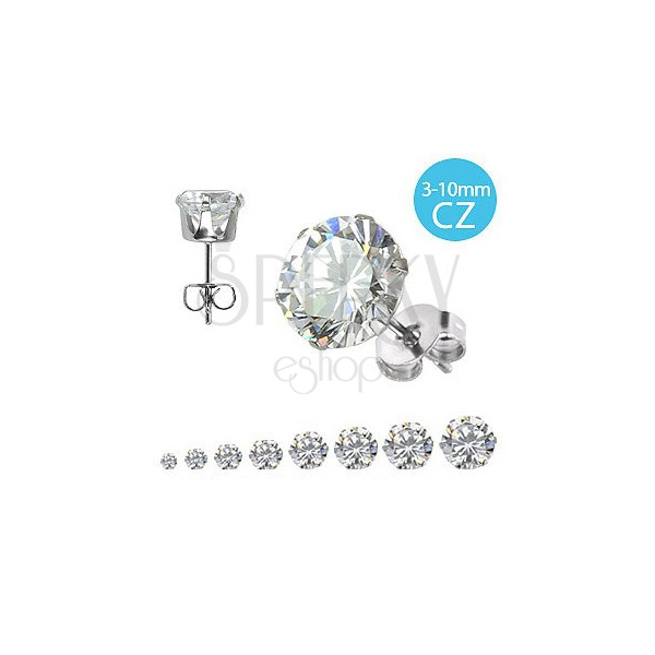 316L steel earrings - round glittery zircons of clear colour, various sizes