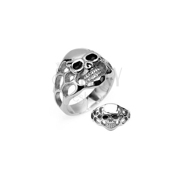 Stainless steel ring - skull with black eyes