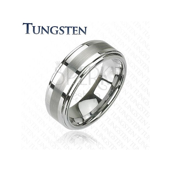 Tungsten ring in silver color with polished stripe