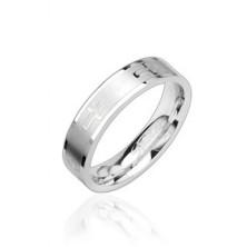 Shiny steel ring, crosses
