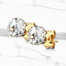 Stainless steel earrings with clear round zircon, gold finish