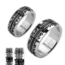 Surgical steel ring - black engraved ornament, cross