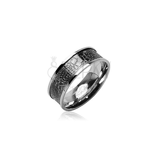 Stainless steel ring - crocodile skin
