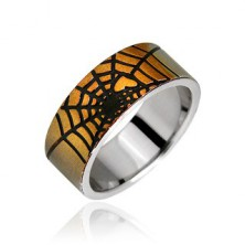 Surgical steel ring - golden spider web and heart