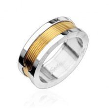Surgical steel ring with central part in gold colour