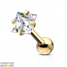Tragus steel piercing – a square shaped clear colour zircon, 6 mm