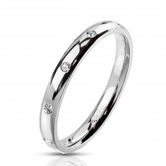 Steel silver colour ring – round clear zircons, 3 mm