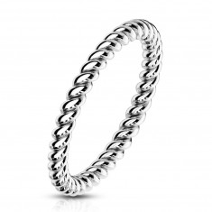 A steel ring in silver colour – shiny twisted strips, 2 mm