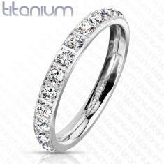 A Titanium ring in silver colour – round glittery zircons, 3 mm