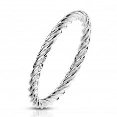 A steel ring in a silver shade – closely connected and twisted strips, 2 mm