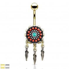 Belly button piercing made of steel – dreamcatcher, dangling feathers