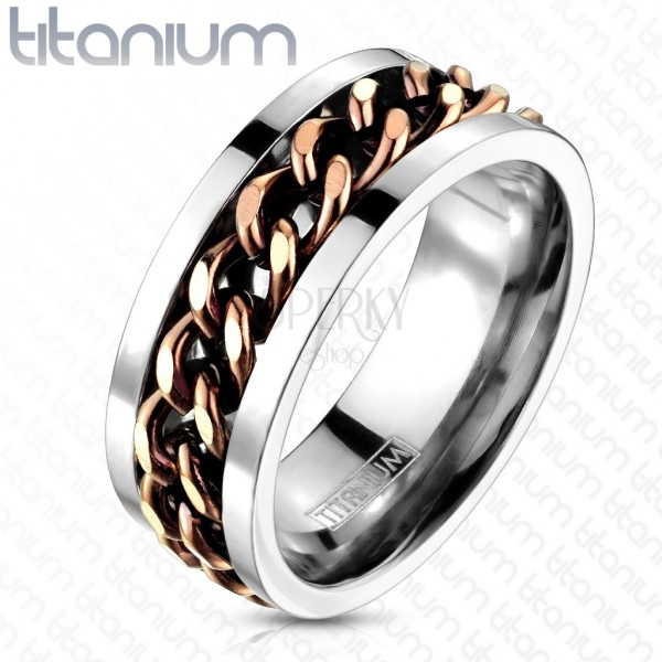 Titanium ring - chain in copper color
