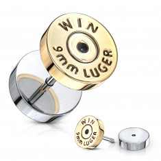 """Fake plug in silver colour – flat circle in a golden shade, sign """"WIN"""""""