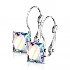 Steel earrings with a rainbow zircon – square shaped, silver colour