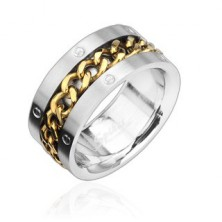 Stainless steel ring with gold-plated chain