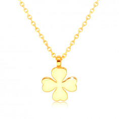 585 Yellow gold necklace – four-leaf clover with heart-shaped leaves, symbol of happiness