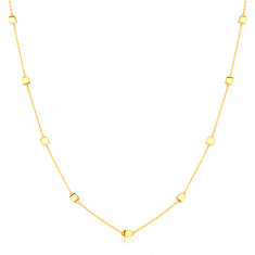 14K Yellow gold necklace – fine chain with glossy cubes