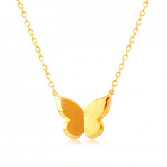 585 Yellow gold necklace – butterfly with satin finish