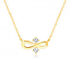 """585 Yellow gold necklace - """"INFINITY"""" symbol, two clear zircons in the centre"""