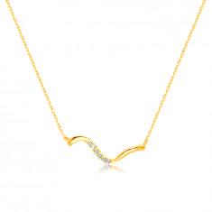 14K Golden necklace – asymmetrical wavy linea, clear zircons