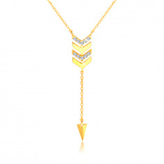 585 Golden necklace – an arrow with a chain, a spike, clear zircons