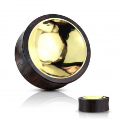 Ear plug made of Sono wood in brown-black colour – a golden coloured circle