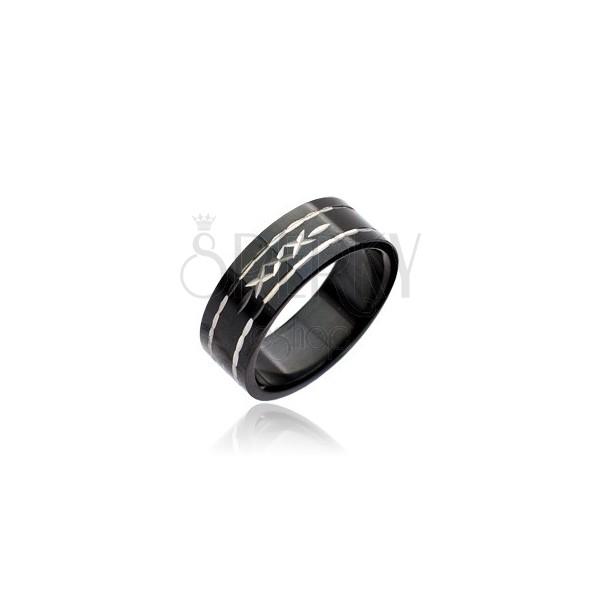 Black stainless steel ring - engraved cross pattern
