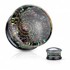 Glass ear plug – black bottom part with multicoloured glitter, space motif