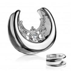 Steel ear plug in a silver colour – zircon teardrop, ornaments