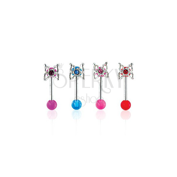 Butterfly eyebrow ring with UV ball bead