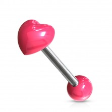 Tongue stainless steel and acrylic piercing - heart and bead