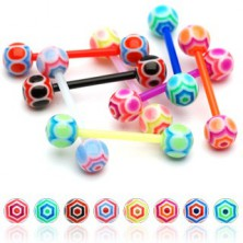 Tongue barbell - two coloured UV spider web