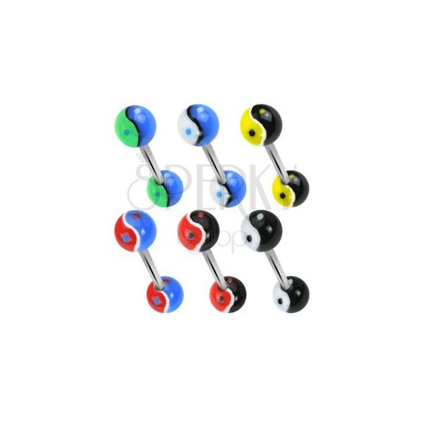 Yin Yang ball tongue ring