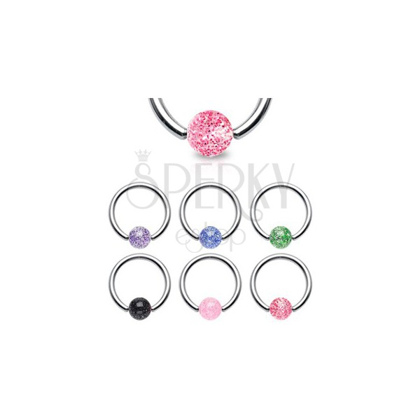 Steel body ring - with glittering ball bead