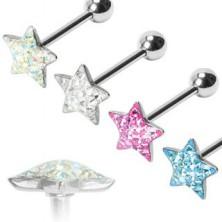 Glittery star tongue ring