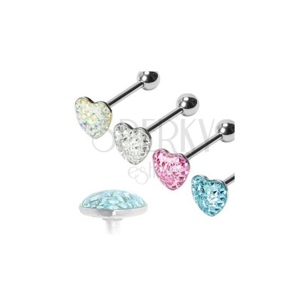 Romantic heart tongue barbell