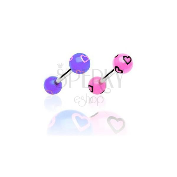 Tongue bar - drawn hearts