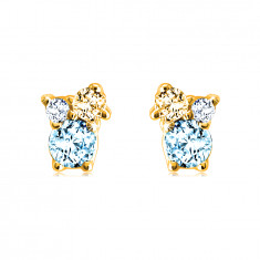 Earrings made of 14K gold – stones in various sizes, citrine, blue and Swiss topaz
