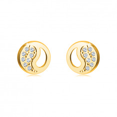 Earrings made of 14K gold – Chinese Yin Yang symbol with a cut-out and zircons