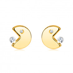 Earrings in 14K gold – emoticon with an open mouth eating a zircon