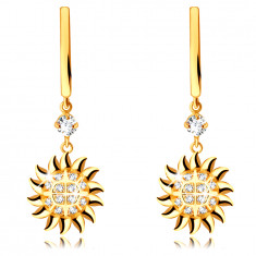 Round earrings in 585 yellow gold – pendant in the shape of the sun, round clear zircon