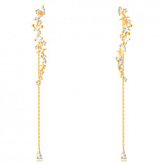 Earrings made of 14K gold – wave-shaped strip, oval, teardrop, square, stars, flower, chain