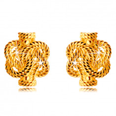 14K Golden earrings – intertwined stripes with a rope pattern, studs