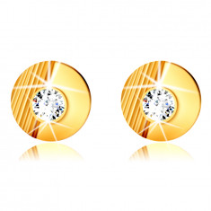 14K Golden earrings – circle with notches, smooth half circle, embedded round zircon, studs