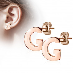 "Steel earrings in a copper colour – letter of the alphabet ""G"", studs"