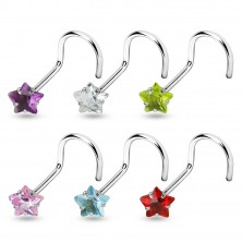 Nose piercing - bent, stainless steel - zircon star