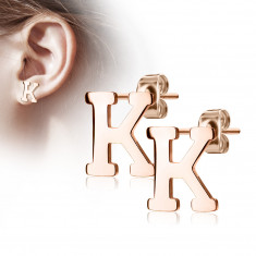 "Steel earrings in a copper colour – letter of the alphabet ""K"", studs"